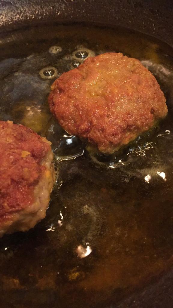 Shallow Frying Mutton Tikki