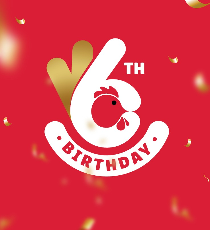 Licious 6th birthday logo -A white number 6 on a red background with the word 'birthday' written in red on a white background under it.
