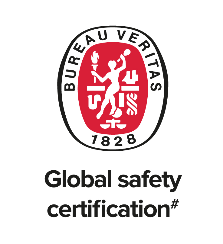 It's the logo of the SFFC global safety certification. A lady in white on a red background - she is holding a torch and a baton in each hand. Below the logo its says - Global safety certification# in black.