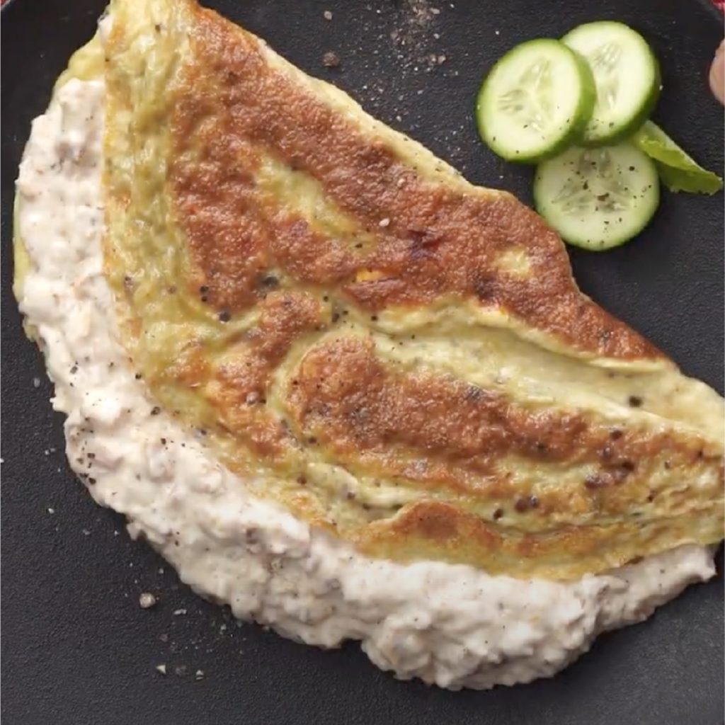 Stuffed omelette made with Licious meaty spreads.